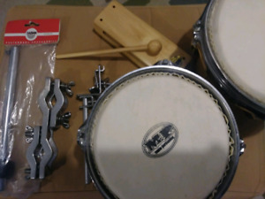 Drums and cymbal harware. Wood block. Cowbell mount.