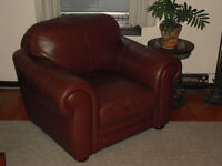 Oversized large Brown geniune top grain leather chair OBO