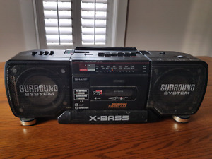 Retro 1980s Sharp WQ-T352C ghetto blaster boom box