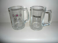 Matching bride and groom beer mugs 30$ for set