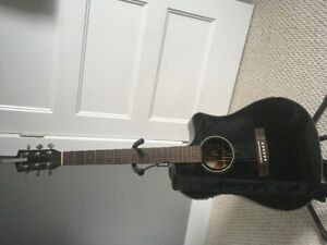 Fender electric acoustic + Hardshell case & stand