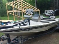 2000 fisher 19' 115 hp with tracker trailer