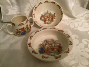Royal Doulton England Bunnykins Cereal Bowls & 2 Handled Cup