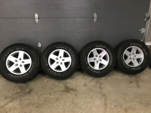 Like new jeep wrangler rims and tires