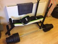 YORK FITNESS WORKOUT BENCH + 50KG WEIGHTS