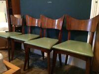 4 X Vintage retro green danish style beech wood dining chairs