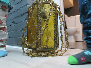 lampe antique lanterne chandelier verre ambre et or vintage