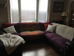 FREE! Well used, large sectional, bonded leather couch