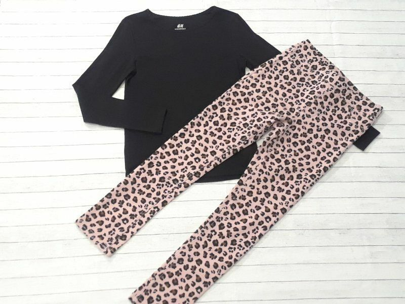 NWT NWOT H&M girls size 7-8 leopard print treggings black tee 7 8 School outfit
