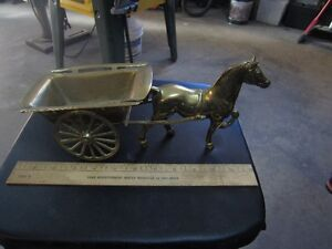 BRASS HORSE AN CART
