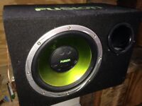 Subwoofer amplifier and two speakers