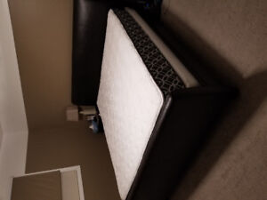 King size Mattress and box spring set with bed frame