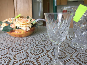 Eight sets of Royal Doulton crystal glasses