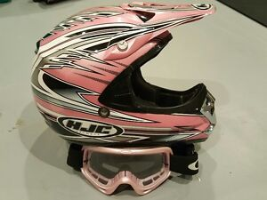 HJC Pink helmet with Oakley goggles