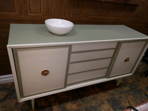 Vintage Solid Wood Painted Credenza