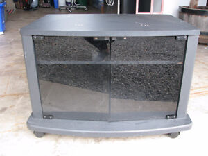 Black Shelving Unit with Glass Doors - Side Table with Wheels