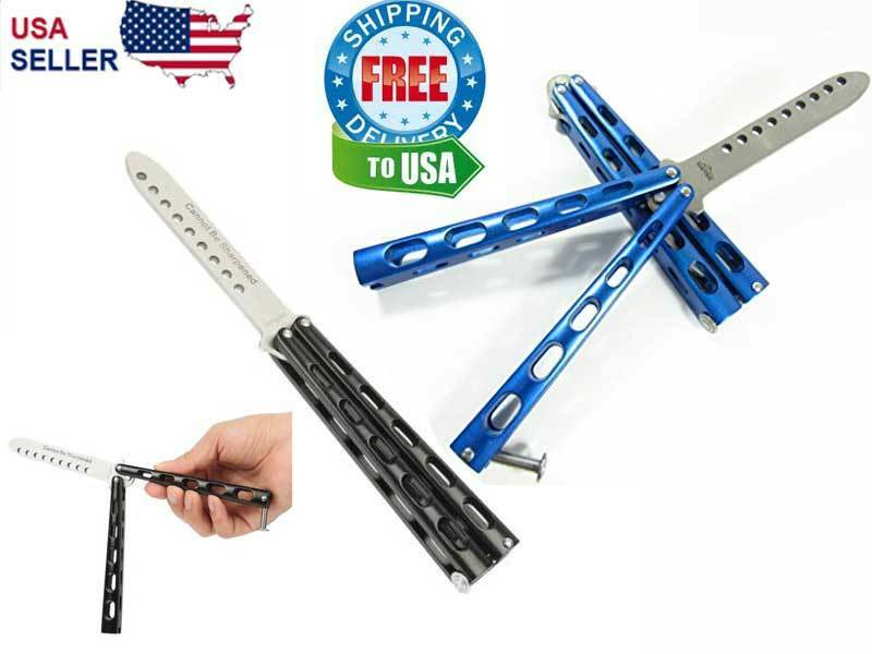 Butterfly Balisong Trainer Knife Training Dull Tool Metal Practice BLUE or BLACK Collectible Folding Knives