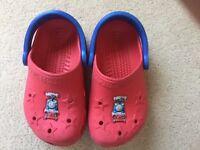 Young boys red Thomas the Tank Crocs originals