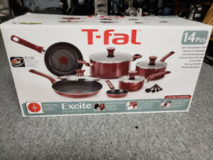BRAND NEW TFal Excite 14-piece Red Alum Non-stick Cookware Set