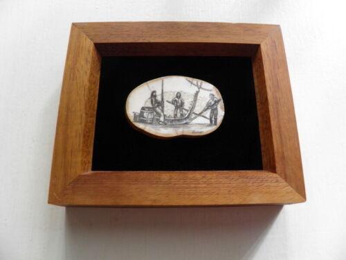 Scrimshaw on wood , Signed Peter Kinney