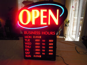 """ OPEN "" LED Display Sign with Digital Business Hours"