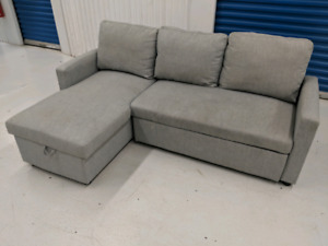 Sectional  L-Shape   Sofa Bed with Custom Mattress and Storage