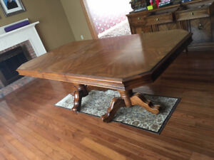 Antique Canadian Made Dining Table and Chairs and Hutch