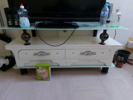 White TV stand wood
