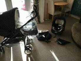 Mimi pokadot pram / pushchair set, car seat, umbrella