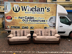 3&2 seater sofa in brown and cream fabric £275