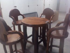 Solid Teak Rd. Bar Table and 4 Chairs