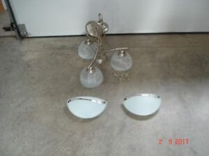 CHANDELIER/ TWO WALL SCONCES