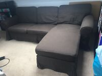 L shape brown fabric sofa for sale