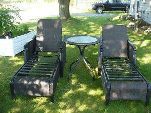 Wicker Loungers and Table