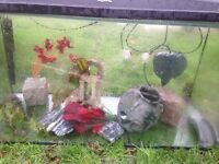 fish tank with plants,rocks,oraments,filter and heater