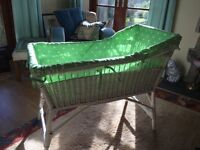 Infant's wicker crib / cradle / Moses basket / newborn cot; Cath Kidston cotton liner. Baby. Babies