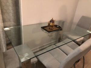 Structube Macao Dining Table - Glass & Chrome