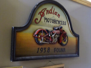 VINTAGE INDIAN MOTOR CYCLE 1938 FOUNR WOOD PLAQUE