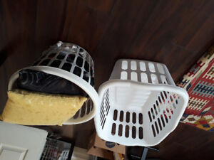 laundry  baskets and dish rack 3 items