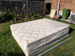 Obus Forme queen mattress and boxspring. Ikea bed frame