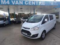 Ford Transit Custom NEWLIMITED CREWVAN130PS 310 L1/L2 LWB/SWB H1 FROM £215