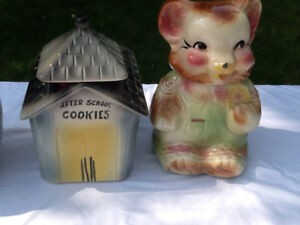 OLD COOKIE  JARS MOUSE SCHOOLHOUSE BELL