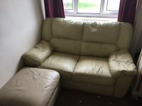 Cream leather sofa and foot stall/storage