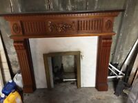 Harwood fireplace surround with marble backing and harth