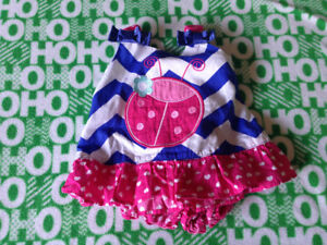 0-3 month adorable lady bug sun dress