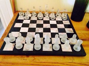 """Hand Crafted Marble Chess Board w/ Glass Pieces. 1.5"""" Squares"""