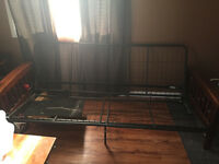 Wood and metal futon frame