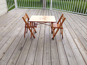 Wood Chair and Table Set