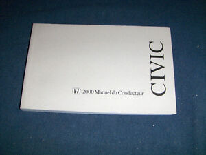 HONDA CIVIC-MANUEL DU CONDUCTEUR 2000-COUPE-DRIVER'S MANUAL