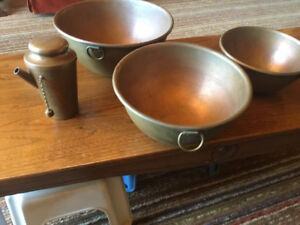 Antique Copper Mixing Bowls and Shaker